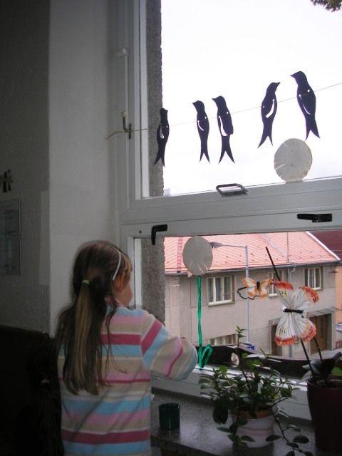 Výzdoba do oken - vlaštovky a slunečnice