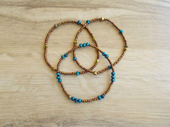 Apilamiento pulsera pulseras de perlas de semilla bronce