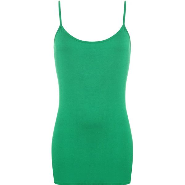 WearAll Strappy Camisole Vest Top ($11) ❤ liked on Polyvore featuring tops, green, cami tank, stretch tank top, camisole tops, camisole tank top and green camisole