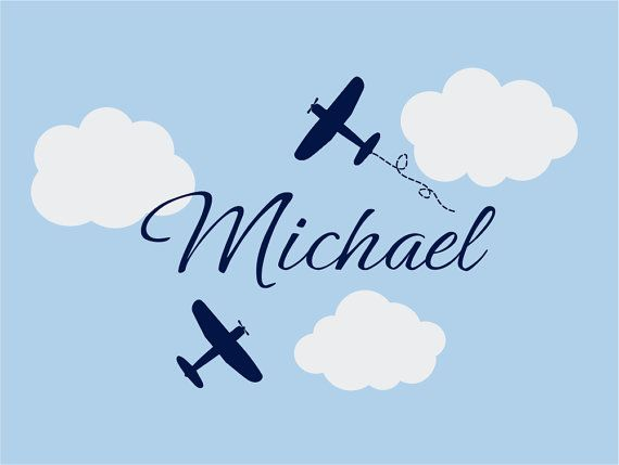 Airplane Wall Decals  Airplane Cloud and by fivestarsigns on Etsy, $45.00