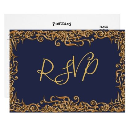 #rustic - #RSVP Elegant Script Modern Faux Gold Navy Blue Card