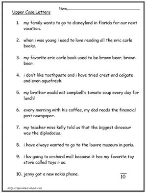 Free Capital Letters Worksheets: Capital Letters Worksheet #3 of 4