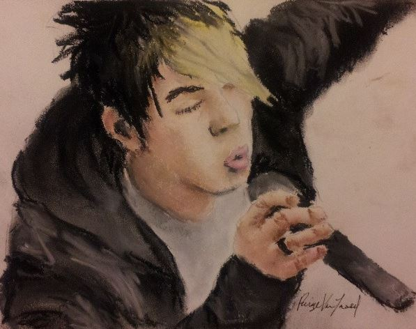 drawing of Josh Ramsay from Marianas Trench using soft pastels. Paige Van Tassel drew this. Check out her art board, she's INSANELY talented.