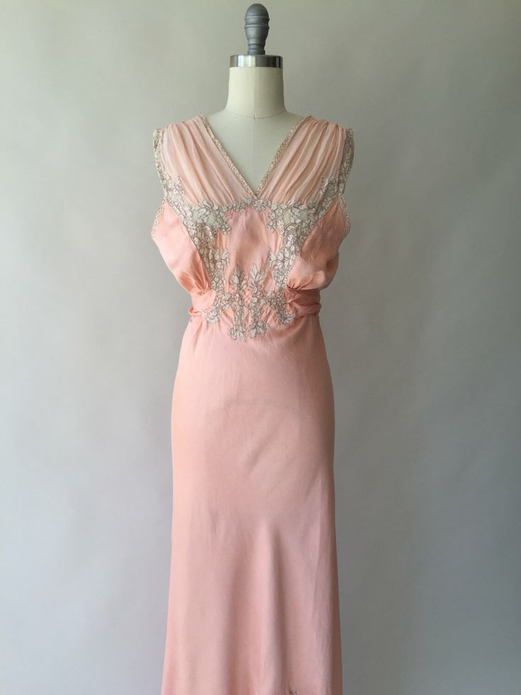 30s peach silk & lace nightgown with chiffon straps and ruffle hem / S / M by CultOfChiffon on Etsy https://www.etsy.com/au/listing/294619083/30s-peach-silk-lace-nightgown-with