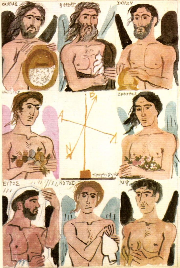The 8 winds of Ancient Greek Mythology by Greek Painter Yiannis Tsarouchis (1939-40). 1. Kaikias, the North-East Wind, 2. Boreas, the North Wind, 3. Skiron, the North-West Wind, 4. Apeliotis, the East Wind, 5.Zephyr, the West Wind, 6.Lips, the South-West Wind, 7.Euros, the East Wind, 8. Notos, the South Wind