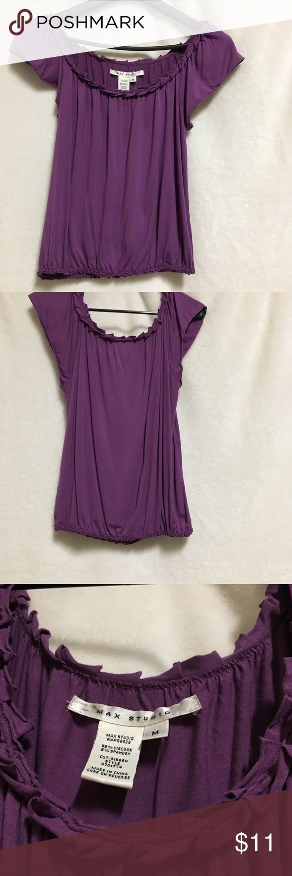 Max Studio Women's Blouse Size Medium Purple Size Medium Blouse  There is a marker stain on the size label but otherwise blouse is in good condition  Purple color Max Studio Tops Blouses