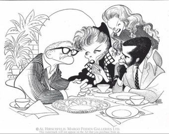"""AL HIRSCHFELD'S """"Guess Who's Coming To Dinner,"""" Hand Signed by Al Hirschfeld, C of A, Ltd Ed, Spencer Tracy, Kate Hepburn, Sidney Poitier"""