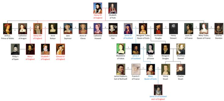 Family tree of the principal members of the house of Tudor.  Elizabeth I of England had no heir, so the Howard line died with her, but Queen Elizabeth II is still related to the House of Tudor, via Elizabeth I's paternal aunt, Mary Tudor, Queen of Scots. Tudor; DIRECT DESCENT OF QUEEN ELIZABETH II FROM HENRY VII AND ELIZABETH OF YORK  http://tudorhistory.org/trees/er2.html