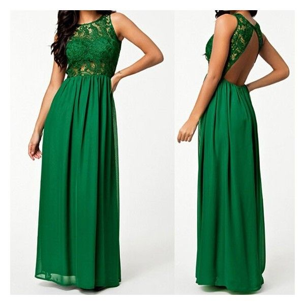 GM-Fashion Green Patchwork Lace Cut Out Draped Round Neck Maxi Dress