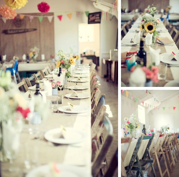 Gorgeous village hall wedding, hand made Pom Poms and rustic details