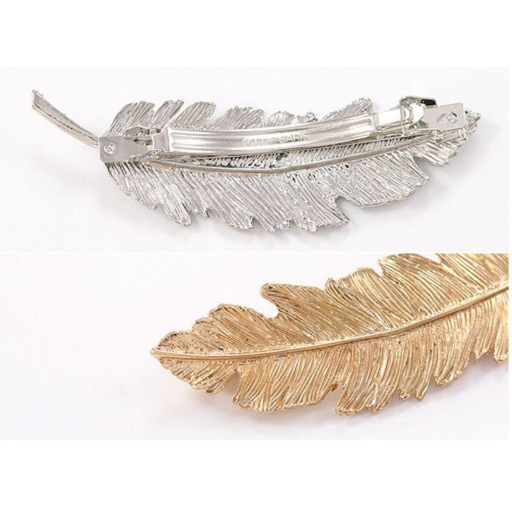 1 pcs haarspelden barrette metalen clip haarspeldjes kappers haaraccessoires voor vrouwen giltter leaf clips kapper 2 kleuren