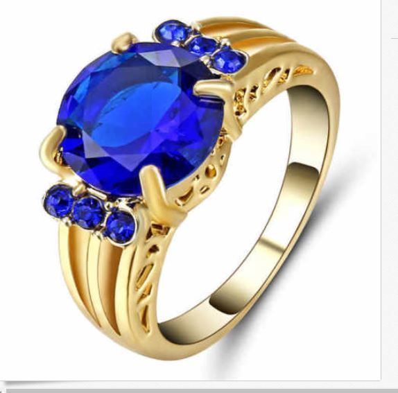 Fine Fashion Jewelry Blue Sapphire Size:6 Women's Ring 18K gold Filled  #FashionJewelry #largestonebluesapphire