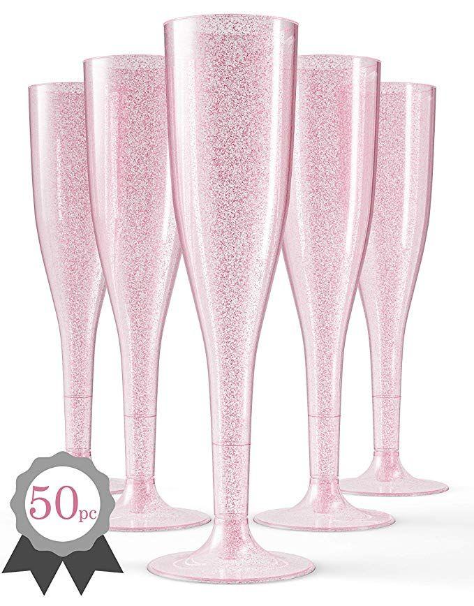 50 Pink Plastic Champagne Flutes, Glass Champagne Flutes Bulk