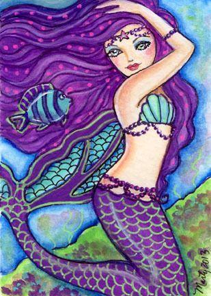 Original ACEO Colorful Sea Mermaid and Fish Fantasy Art Painting Marty | eBay