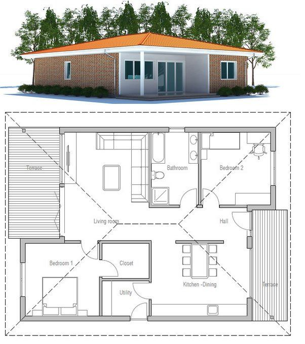 wonderful affordable one story house plans #4: Small House Plan to tiny lot with two bedrooms and covered terrace.  Affordable to build