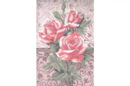 Канва с рисунком ИСКУСНИЦА Розовые розы, 25*30см