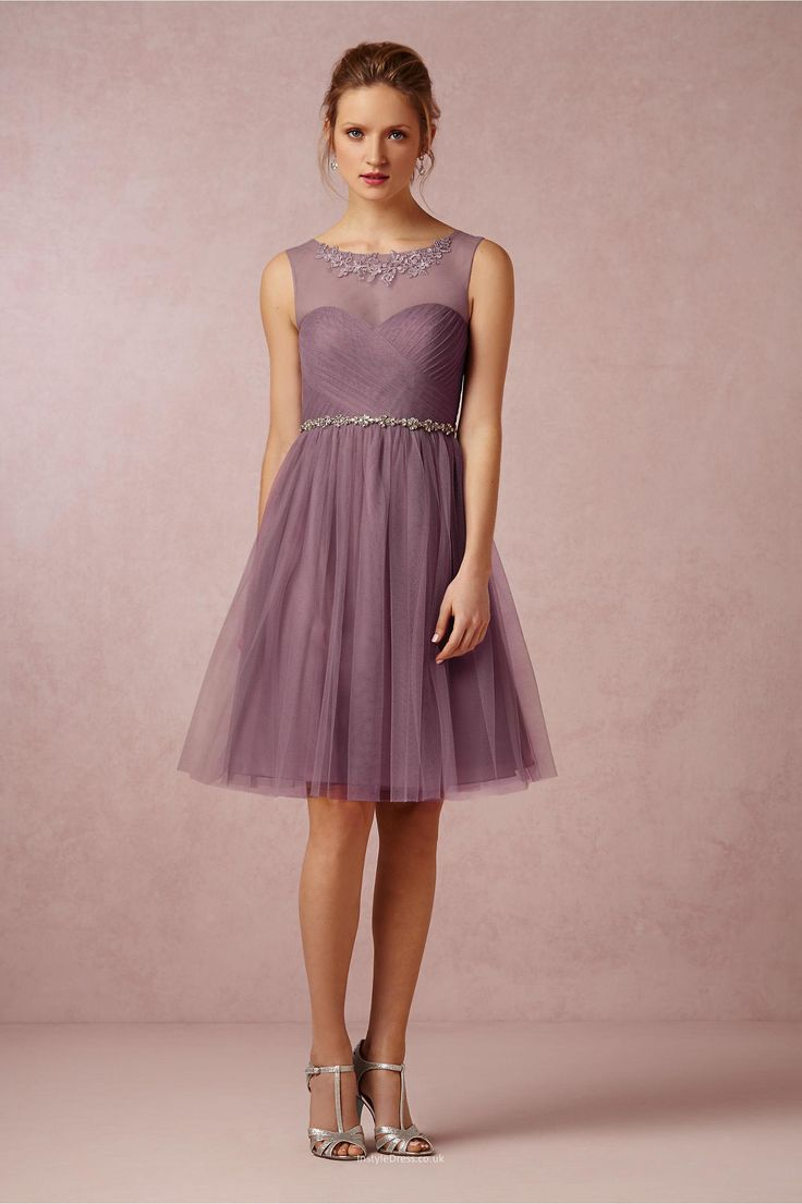 25 cute knee length bridesmaid dresses ideas on pinterest mint this knee length mauve tulle casual bridesmaid dress fits all skin tone illusion boat neckline ombrellifo Choice Image