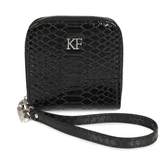 Leather Wallet Woman, Black Leather Womens Wallet, Woman leather wallet, Zipper woman wallet, Clutch wallet, Wallet for her KF-1652