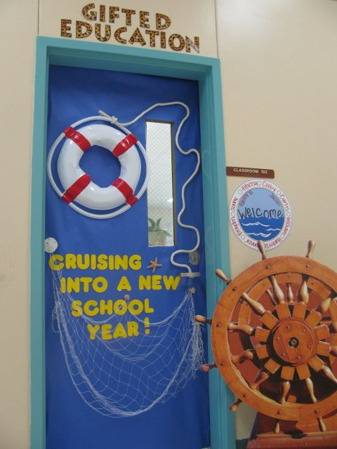 "classroom door decoration. or it could say ""come sail with us into 5th grade"" or ""come sail with us into a new year"""