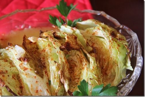 Baked Cabbage Wedges with Lite Honey Mustard Dressing