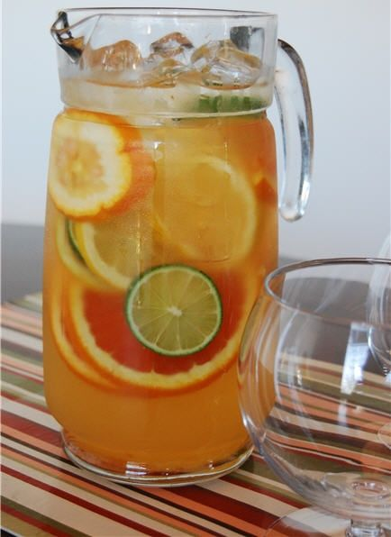 White Wine Sangria Ingredients:  1 Bottle of white wine (Riesling, Albarino, Chablis, Gewurztraminer, Pinot Gris, Chardonnay, Sauvignon Blanc) 2/3 cup white sugar 3 oranges (sliced) or may substitute 1 cup of orange juice) 1 lemon (sliced) 1 lime (sliced) 2 oz. brandy (optional) 1/2 liter of ginger ale or club soda (ginger ale for those with a sweeter tooth!)