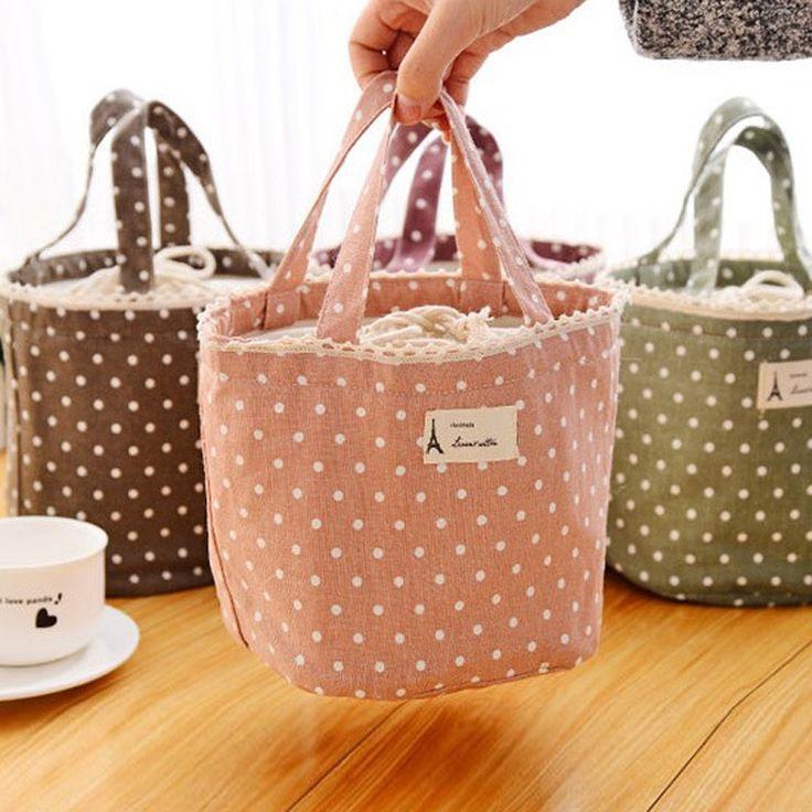 ピクニックポーチ巾着ランチボックスキャリーバッグランチバッグ甘いトート女性サーマルクーラー絶縁hangbags 4色