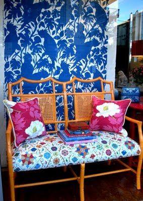 orange chinoiserie bench