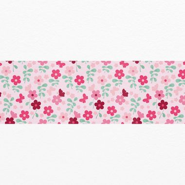 Αυτοκολλητη μπορντουρα τοιχου PINK FLOWERS & BUTTERFLIES
