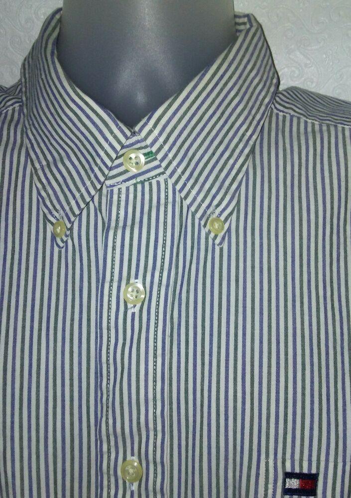 fd01cd6d TOMMY HILFIGER Mens Dress Shirt Blue Green Striped Wh Long Sleeve Button  Down XL #TommyHilfiger #ButtonFront
