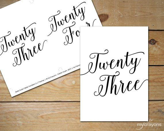 Bella Script Table Numbers 1-30 // Printable by MyCrayonsDesign