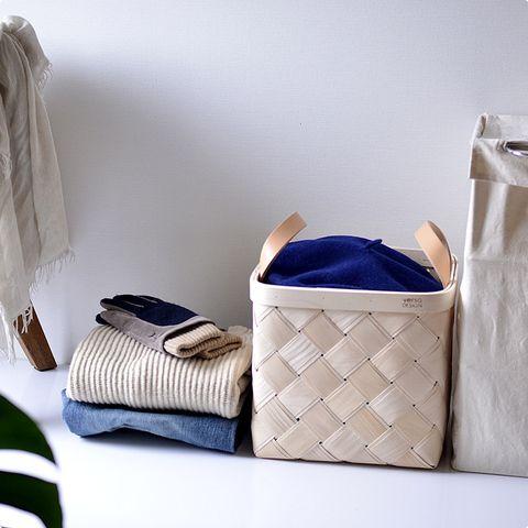 Verso Lastu Medium Birch Basket with Beige Leather Handles | Storage Solutions | Finnish Design | www.homearama.co.uk | #verso #versodesign #lastu #birchbaskets #storagesolutions #finnishdesign