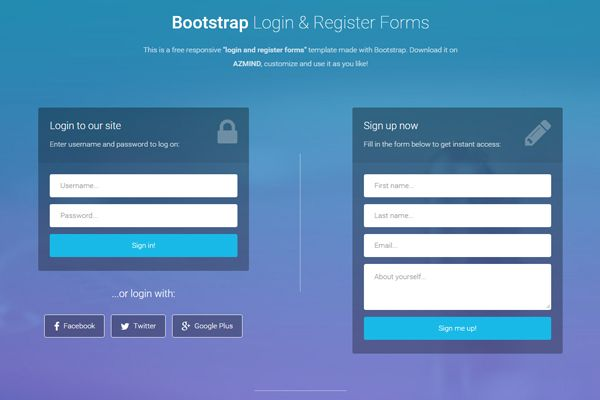 Bootstrap login and register forms in one page 3 free for Login page templates free download in asp net