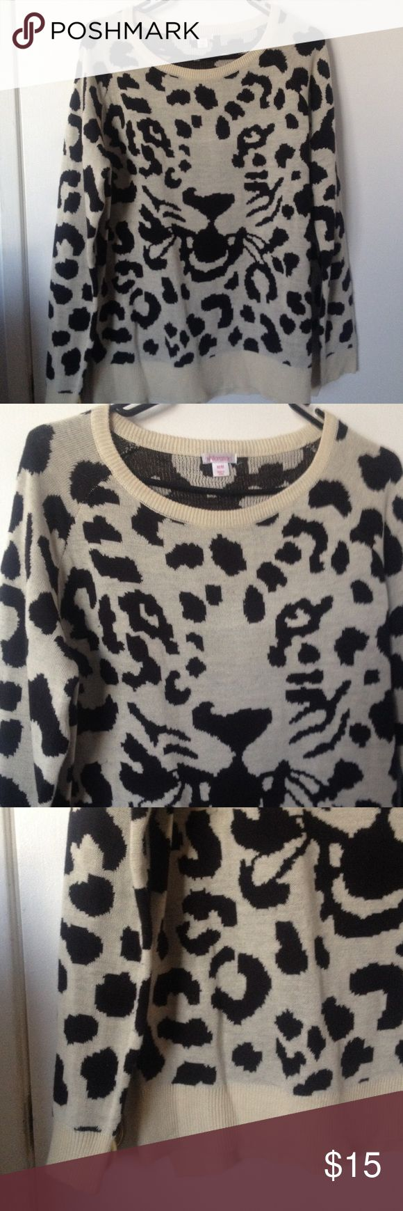 Xhilaration Leopard Pullover Leopard sweater jumper pullover..Xhilaration from Target.. Size M.. Worn once.. Black and cream color Xhilaration Sweaters