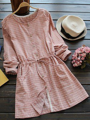 Drawstring Round Neck Checked Button Up Dress - Spice One Size