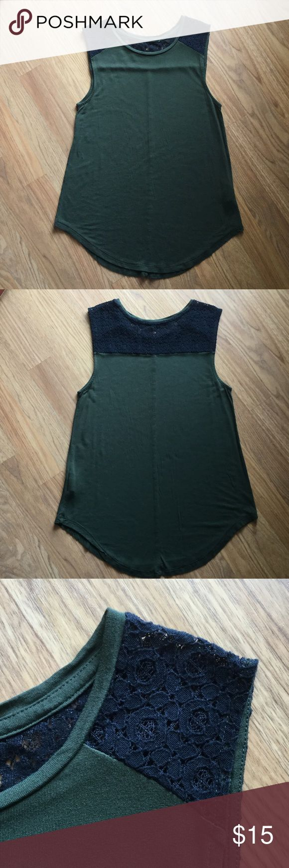 EUC Old Navy Tank Top Green With Black Lace Excellent Condition! Only Worn Once. Adorable  Green Tank Top With Black Lace. Old Navy Tops Tank Tops