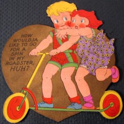 1920s Boy Girl Push Scooter Like to Go for A Spin in My Roadster Valentine Card | eBay