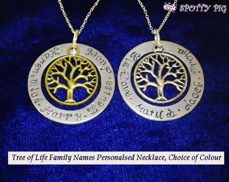 Tree of Life Personalised Hand Stamped Family Necklace, choice of colour. £14.95 Free UK Postage (small charge overseas), Available at: http://www.ebay.co.uk/itm/Personalised-Family-Names-Tree-of-Life-Necklace-925-Sterling-Silver-Chain-Mum-/301338072496?ssPageName=STRK:MESE:IT