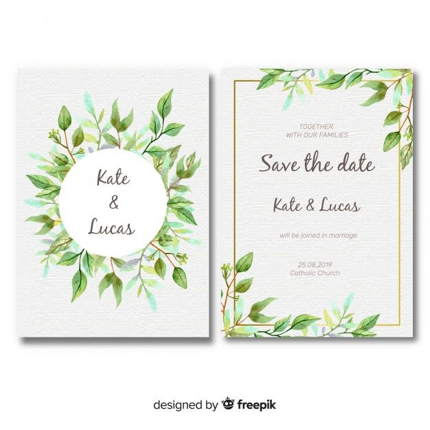 Download Lovely Wedding Card Template With Watercolor Leaves For Free Wedding Cards Wedding Card Templates Watercolor Leaves