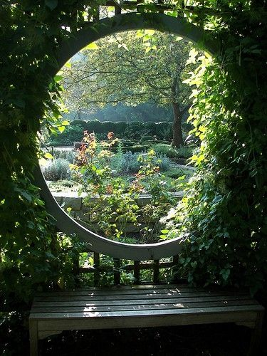 """Garden Bench With A View, the perfect spot for reading a book. Artist unknown. Repinned by Dew Pellucid, author of """"The Sound & The Echoes"""": http://thesoundandtheechoes.com"""