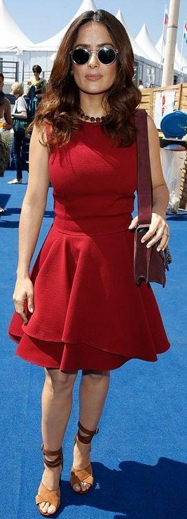 Salma Hayek: Dress – Alexander McQueen  Shoes – Gucci