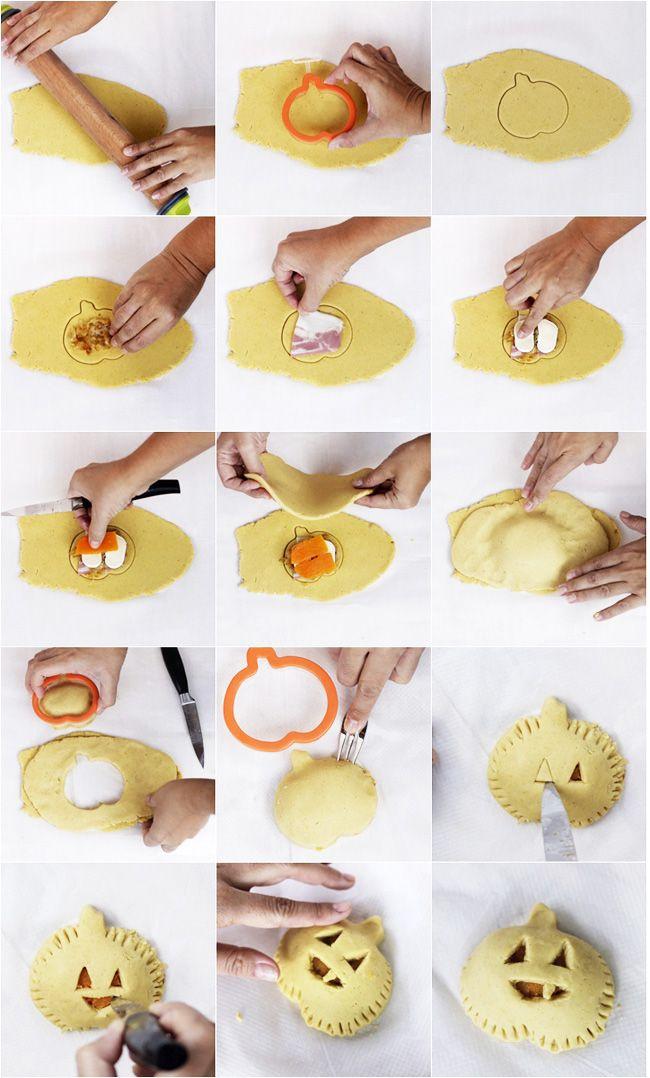 Empanadas mini de calabaza, bacon y queso para Halloween. Receta paso a paso | La cucharina magica