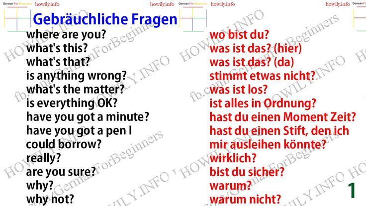 Gebrauechliche+Fragen+1.jpg (1280×720) German phrases