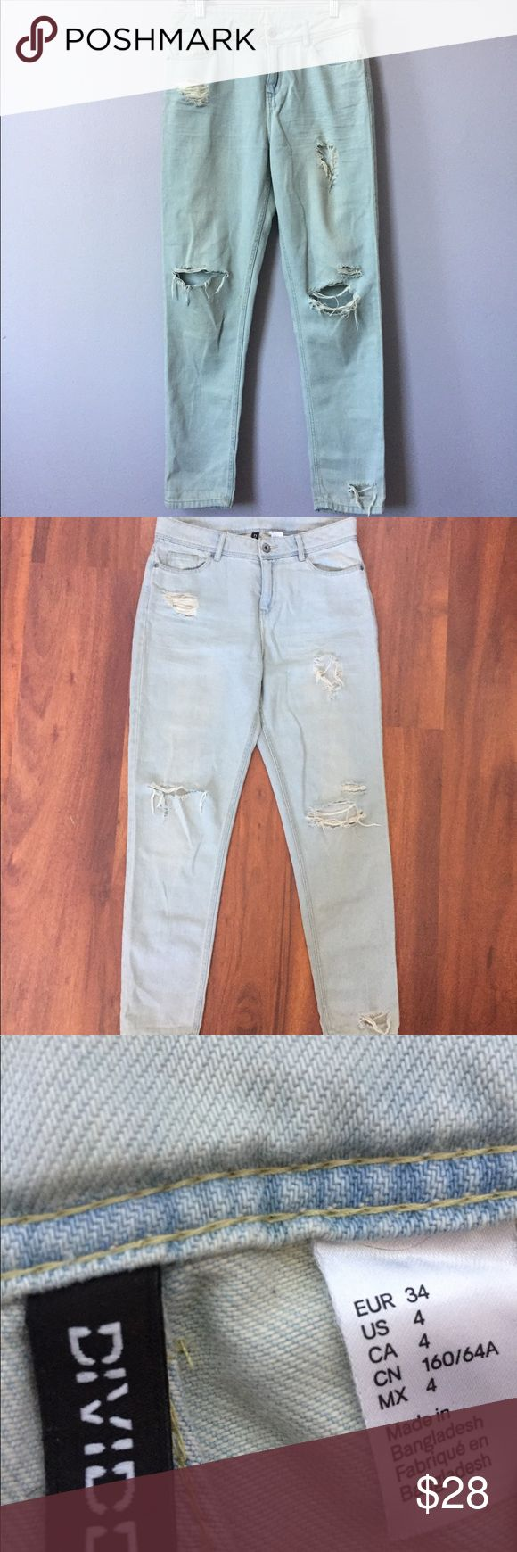 H&m denim high waist distressed straight leg jeans • brand: h&m • size: 4 • color: blue  • style: denim high waisted boyfriend straight leg jeans. These were quite pricey when I got them. Excellent condition, worn just twice. They're super comfortable and soft to the skin. These are the type of denims built to last. On the high end of h&m denims.   Questions are welcomed :) comes from a pet free and smoke free home. All items are washed before sending. Bundle with 3 items for 15% off. H&M…