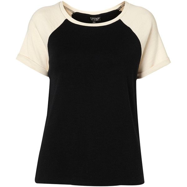 Raglan Contrast Tee (37 AUD) ❤ liked on Polyvore featuring tops, t-shirts, topshop, remeras, women, raglan sleeve t shirts, cream t shirt, raglan tee, raglan t shirts and cotton tee