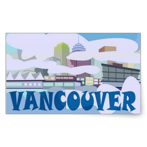 Vancouver Waterfront Rectangular Sticker