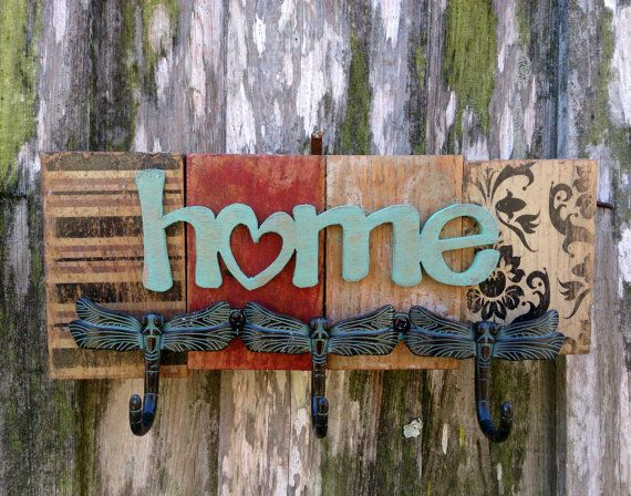 Rustic Keyrail  Home by theLambandtheBear on Etsy