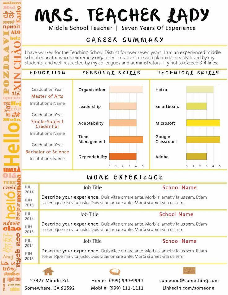 45 best Teacher resumes images on Pinterest Teacher resumes - resume verbs for teachers
