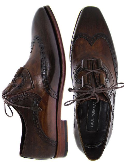 PAUL PARKMAN ® Men's Wingtip Brogue Dress Shoes Hand-Painted Brown Leather Upper with Leather Sole