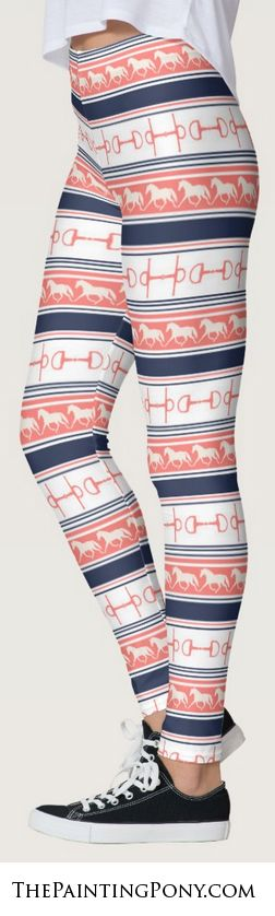 equestrian leggings - navy blue and coral pink trotting horse and snaffle bit pattern legging pants for the horse lover. The trotting horses or ponies on these are so cute! Perfect for the hunter jumper, equitation, dressage horseback riding enthusiast fashion wardrobe.