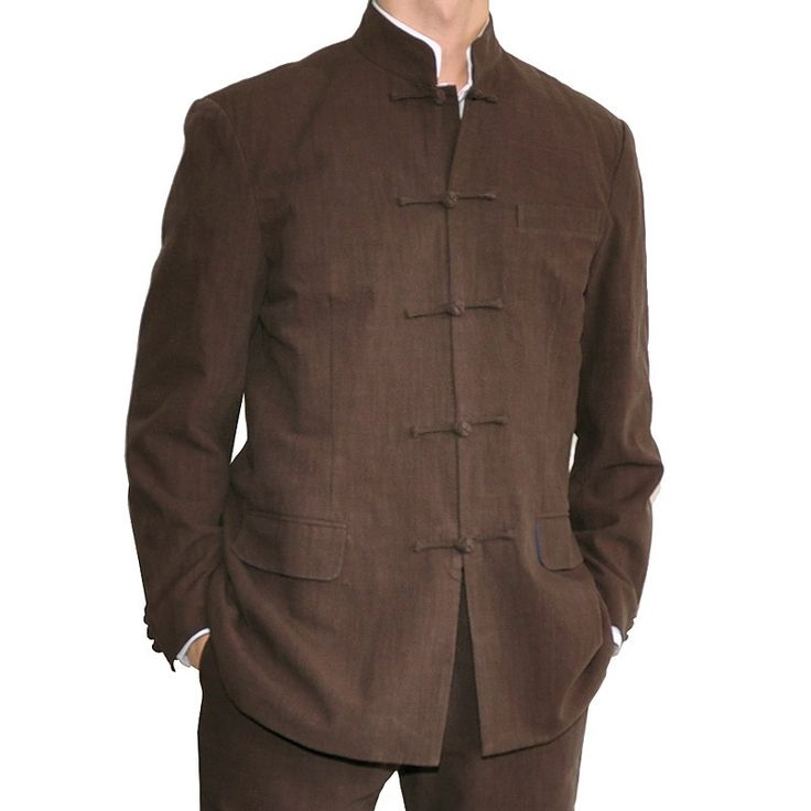 sinologie.com :: Cotton tailored jacket with Mandarin collar and frog buttons